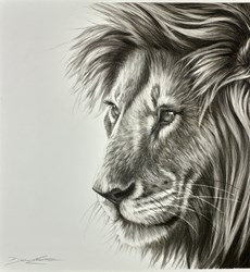 Watching by Darryn Eggleton - Original Drawing on Mounted Paper sized 10x11 inches. Available from Whitewall Galleries